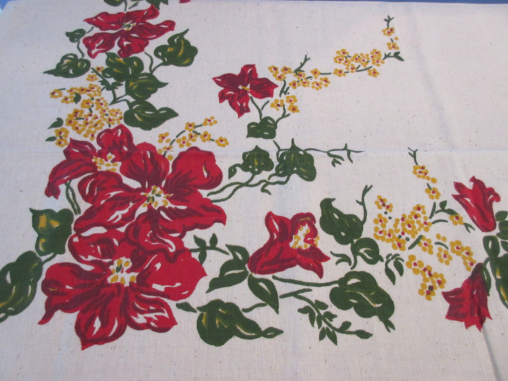 Early Red Clematis Oatmeal Linen? MWT Floral Vintage Printed Tablecloth