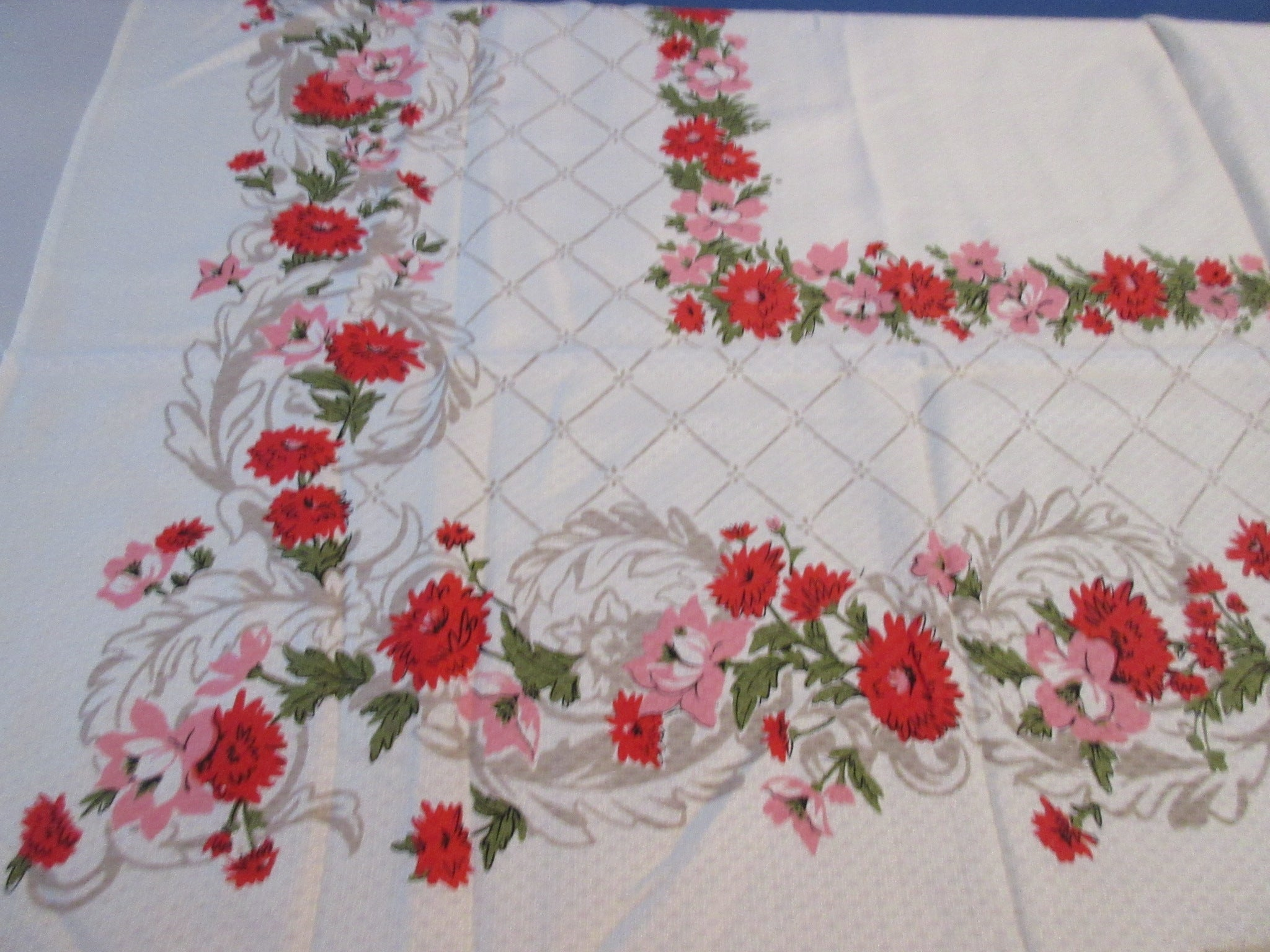 Pink Red Chrysanthemums on Tan Scrolls MWT Floral Vintage Printed Tablecloth (52 X 49)