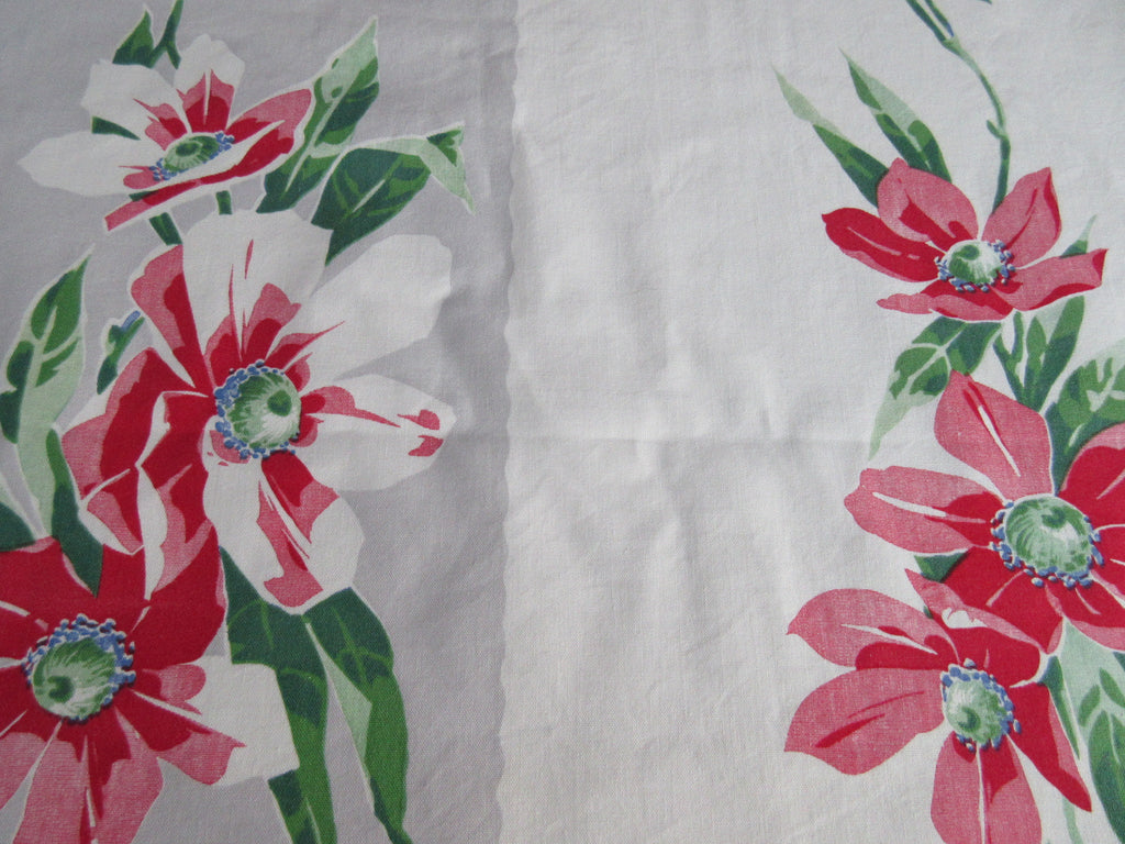 Wilendur Red Green Poppies on Gray Stripe Floral Vintage Printed Tablecloth (54 X 48)