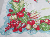 HTF Victory Garden Vegetable Fruit Aqua Lace Linen Vintage Printed Tablecloth (52 X 51)