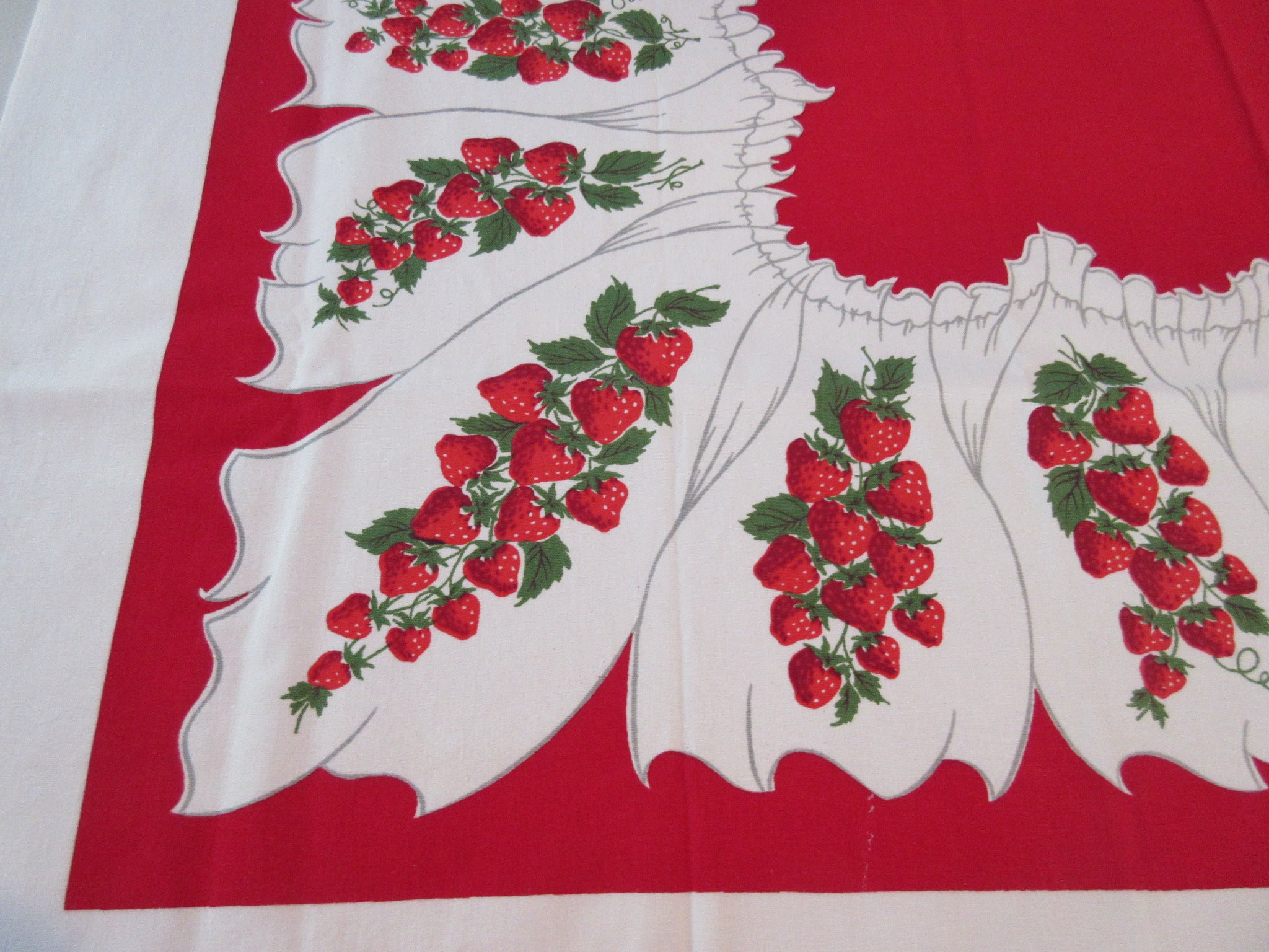 Bright Luscious Strawberries on Red Fruit Vintage Printed Tablecloth (50 X 47)