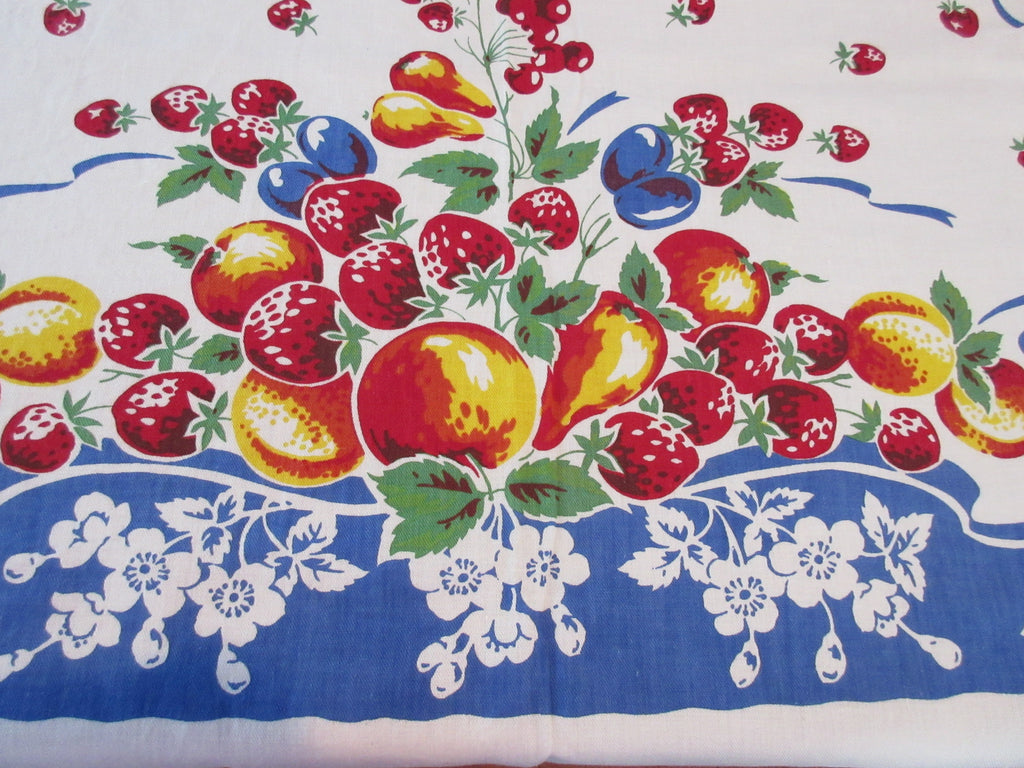 Primary Fruit on Cobalt Blue Ribbons Vintage Printed Tablecloth (51 X 50)