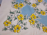 Yellow Flowers on Blue NWOT Vintage Tablecloth (66 X 50)
