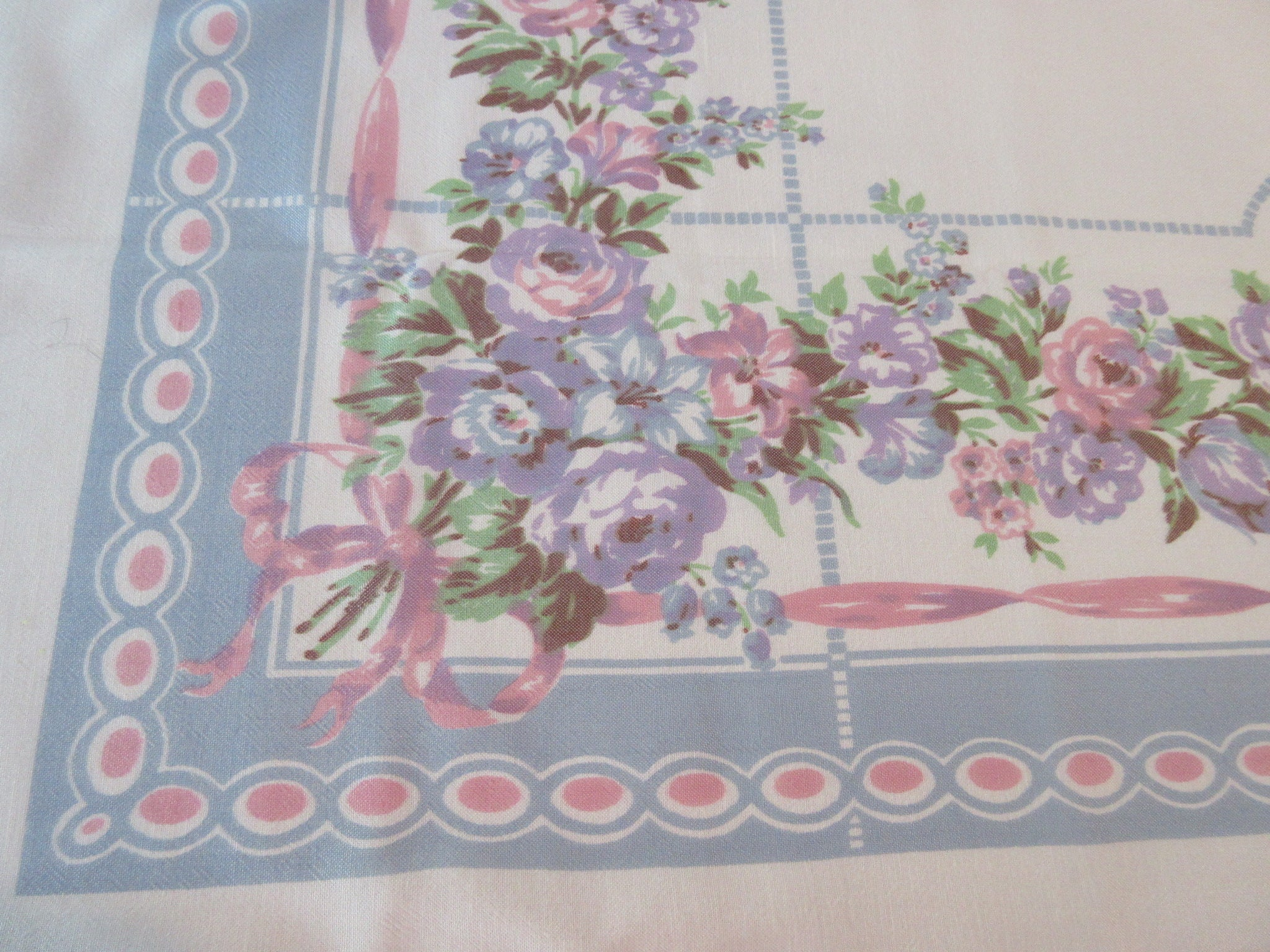 Heavy Rayon Pastel Pink Blue Lavender Blue Floral Vintage Printed Tablecloth (55 X 48)