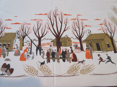 Large Unusual Thanksgiving Pilgrims Pumpkins Novelty Vintage Printed Tablecloth (80 X 60)