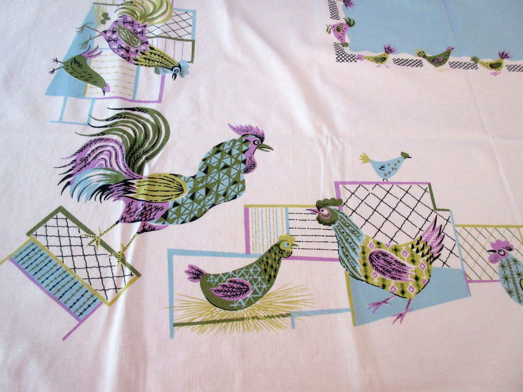 Pastel Calico Roosters Chickens Purple Blue Novelty Vintage Printed Tablecloth (51 X 46)