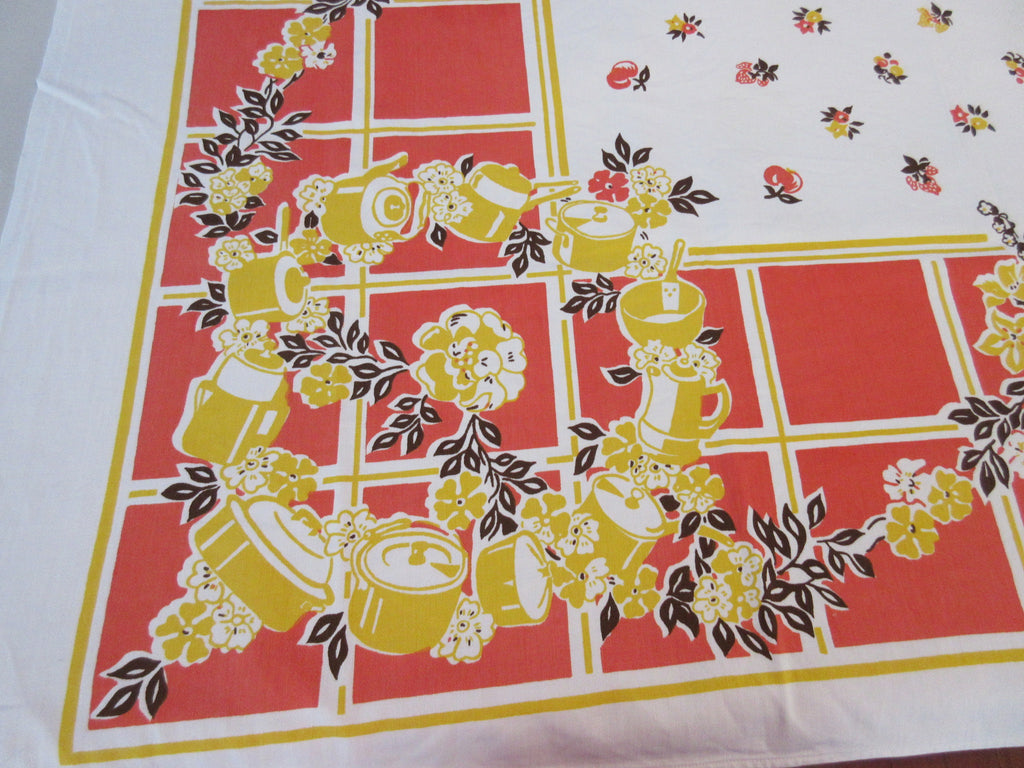 Yellow Pots on Orange Broderie Cutter? Novelty Vintage Printed Tablecloth (50 X 48)