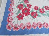 Pink Red Green Tulips on Blue Floral Vintage Printed Tablecloth (62 X 52)