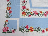 Pastel Carnations on Blue Floral Cutter Vintage Printed Tablecloth (52 X 49)