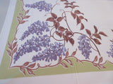 Purple Brown Wisteria on Green Floral Vintage Printed Tablecloth (60 X 53)