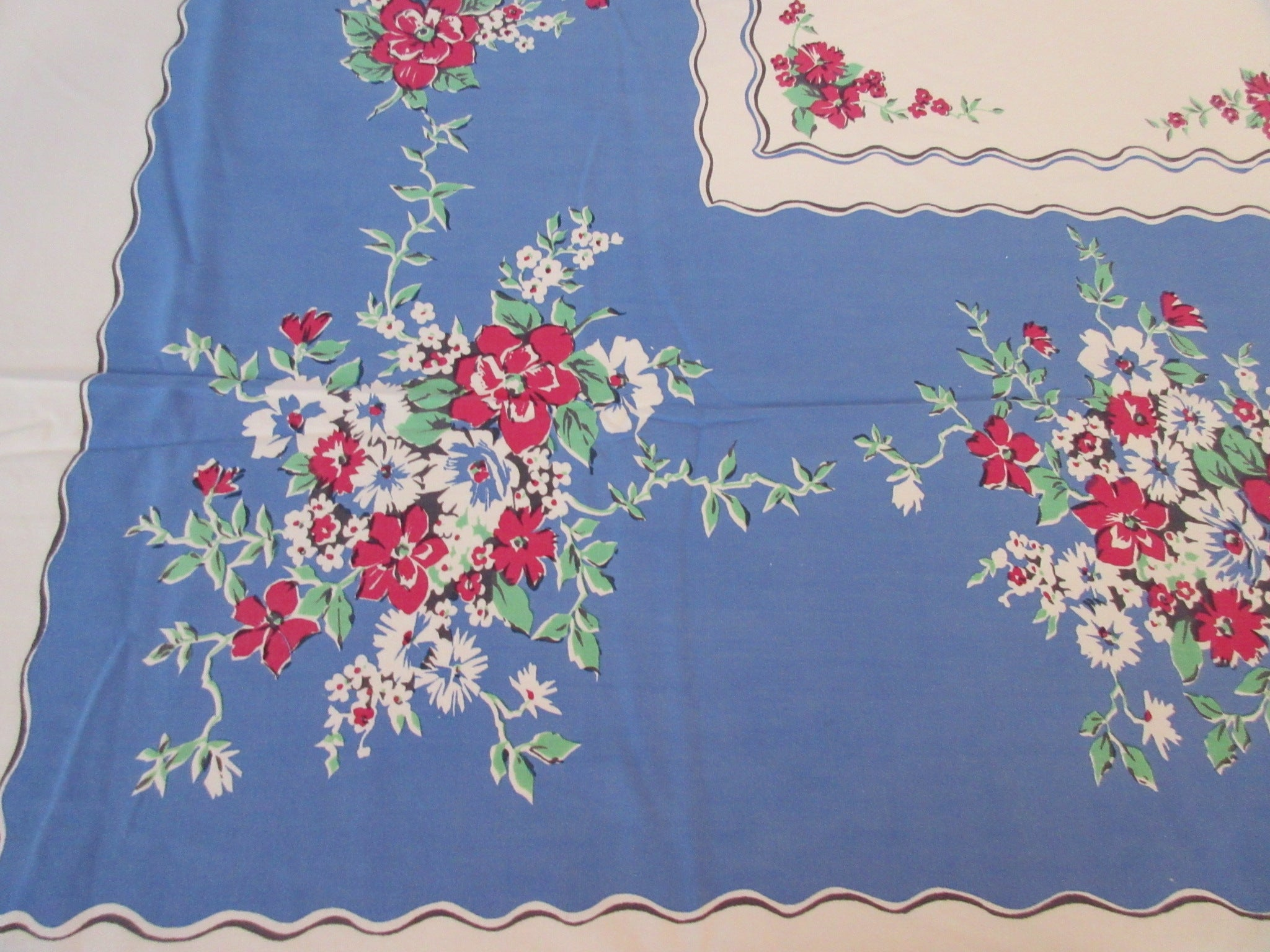 Shabby Red Green Flowers on Blue Primary Floral Vintage Printed Tablecloth (60 X 52)