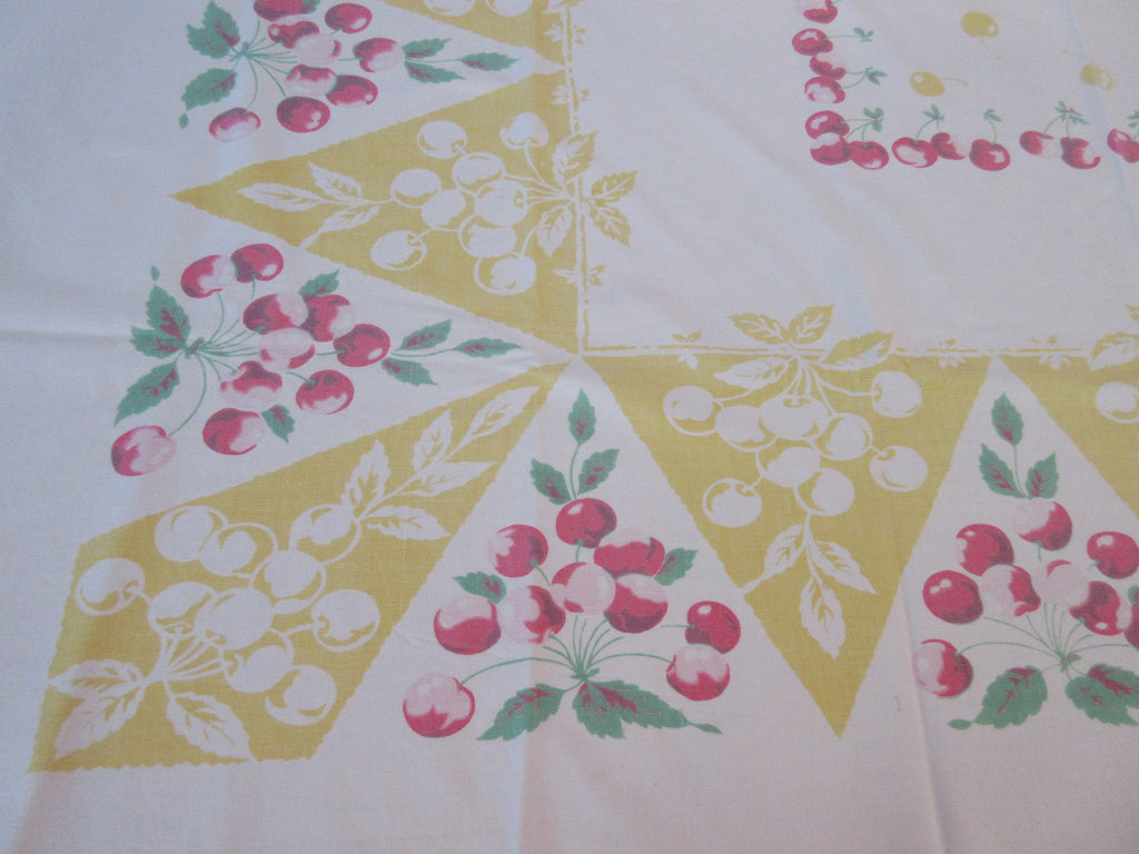 Faded Pink Cherries on Yellow Fruit Vintage Printed Tablecloth (52 X 44)