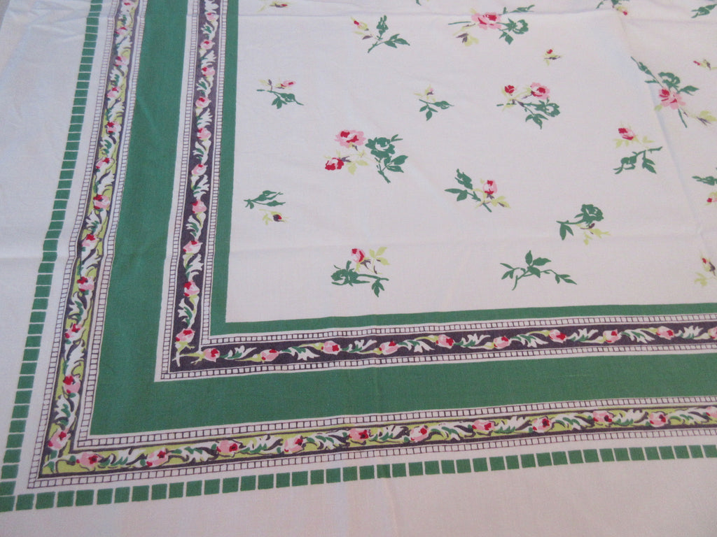 Shabby Pink Roses on Green Black Floral Vintage Printed Tablecloth (54 X 45)