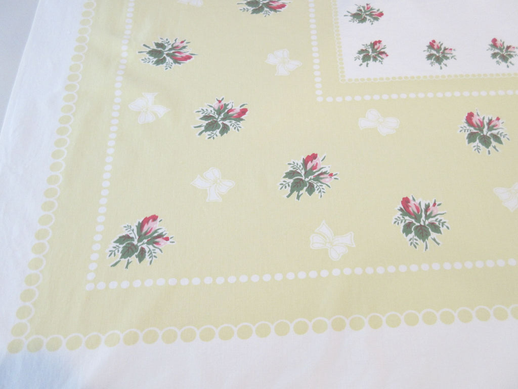 Pink Green Roses Bows on Yellow Floral Vintage Printed Tablecloth (52 X 46)