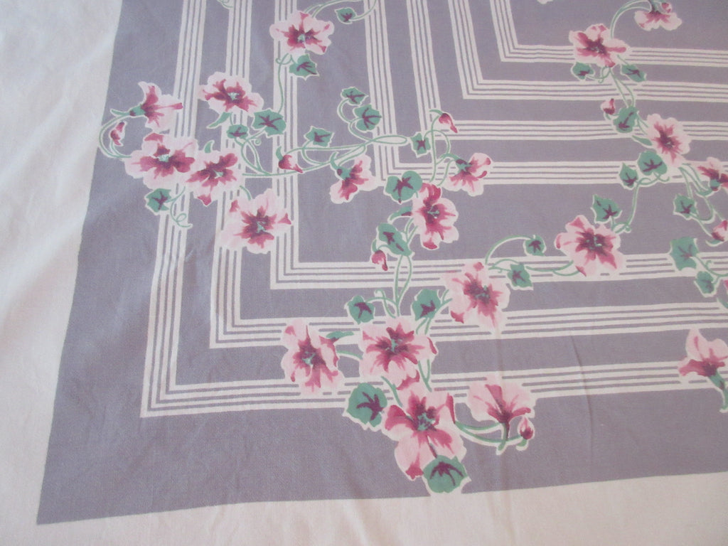 Larger Pink Hibiscus on Gray Stripes Floral Vintage Printed Tablecloth (70 X 56)