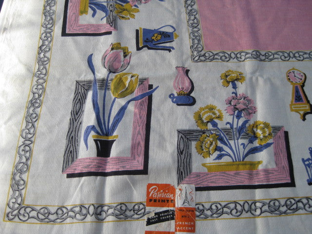 Pink Linen Tulips Carnations Shadowboxes Novelty MWT Vintage Printed Tablecloth (52 X 52 per label)