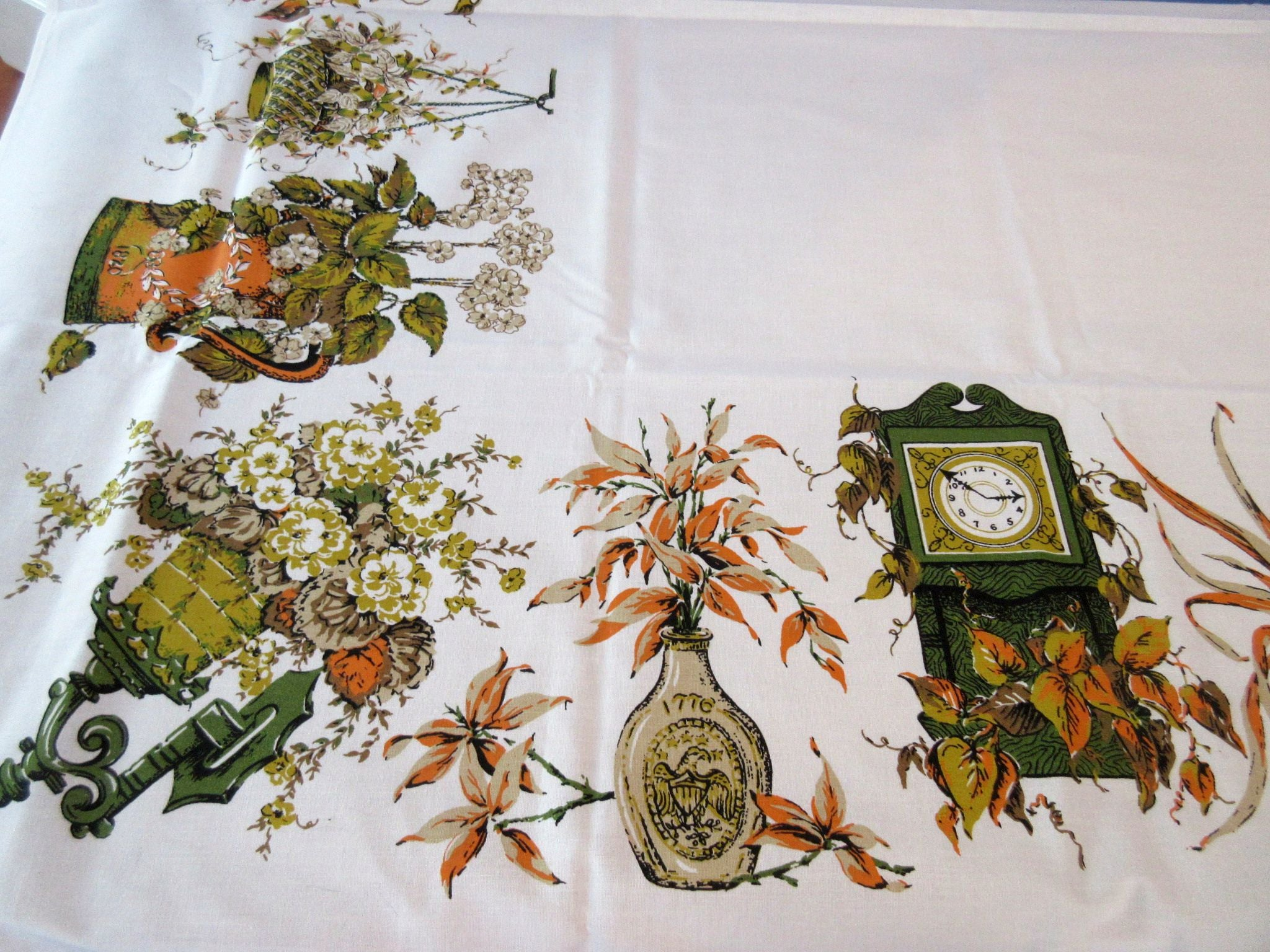 1960s Fall Colonial Pitchers Clocks MWT Novelty Vintage Printed Tablecloth (67 X 49)
