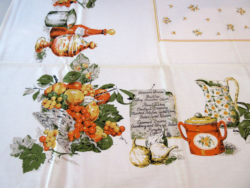 1960s Fall American Dinner Orange Fruit MWT Novelty Vintage Printed Tablecloth (51 X 51)