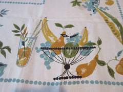 1960s Fall DAMAGED Orange Teal Fruit NWT Novelty Vintage Printed Tablecloth (51 X 51)