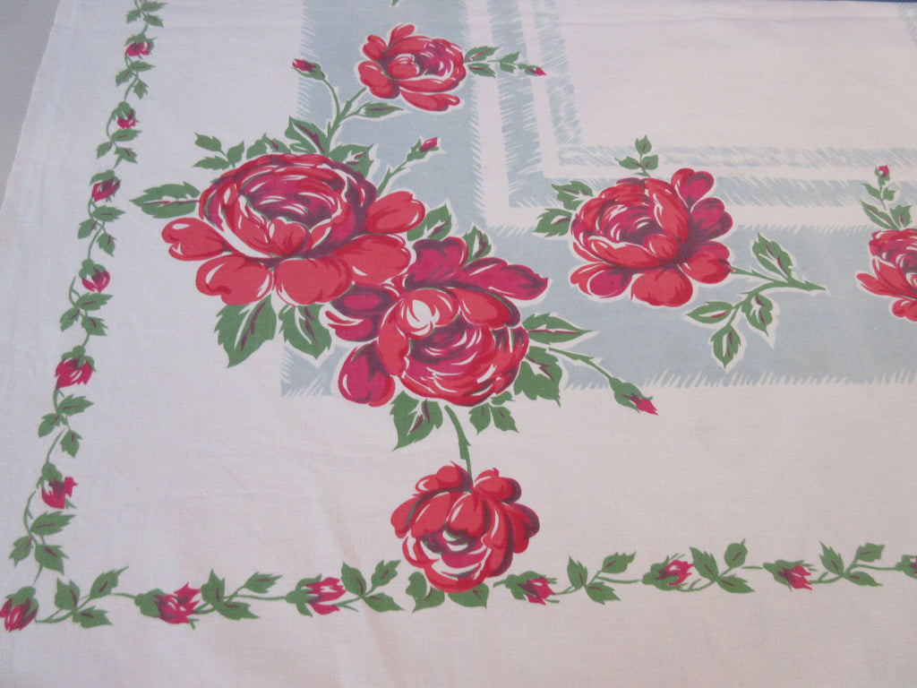 Shabby Scarlet Red Roses on Teal Floral Vintage Printed Tablecloth (48 X 47)