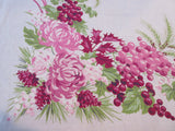 Fall Chrysanthemums Grapes Holly Linen Floral Vintage Printed Tablecloth (52 X 51)