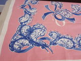 Blue Feathers Ribbons on Pink Novelty Vintage Printed Tablecloth (52 X 49)