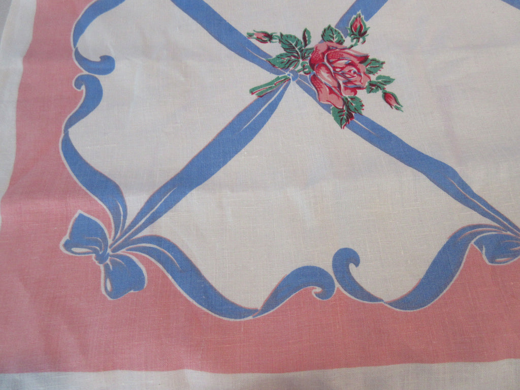 Pink Roses Blue Bows on Pink Napkins Linen Floral Vintage Printed Tablecloth (50 X 49)
