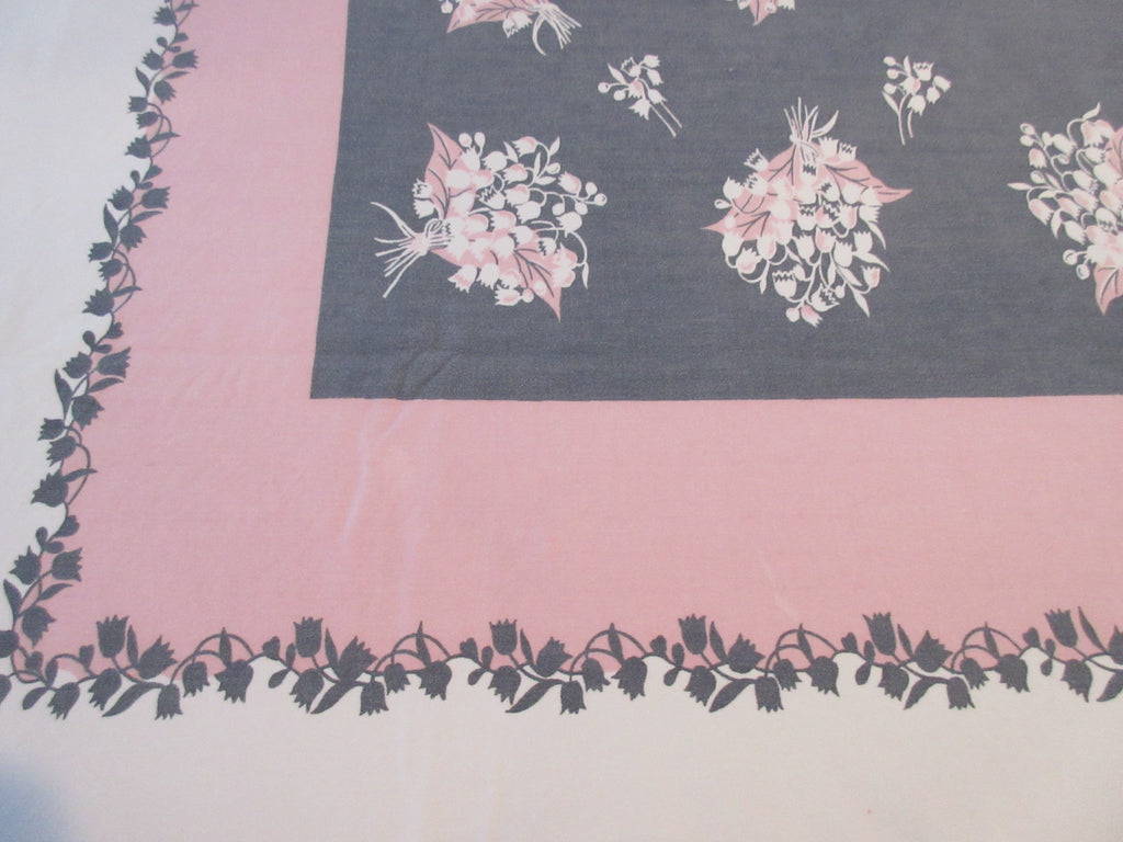 Larger Shabby Pink Gray Lily of the Valley Floral Vintage Printed Tablecloth (72 X 60)