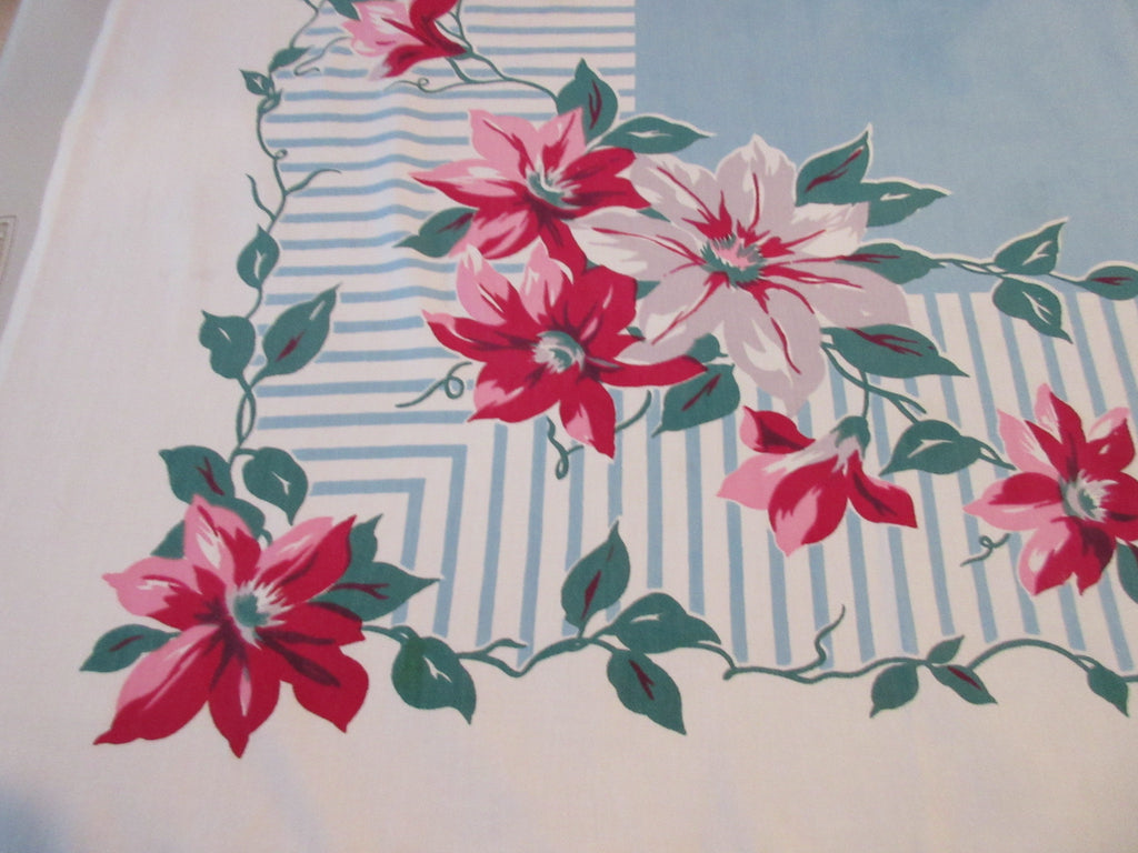 Pink Clematis on French Blue Stripes Floral Vintage Printed Tablecloth (51 X 49)