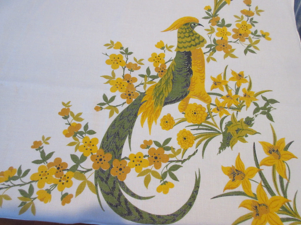 Fall Quail Pheasant Daffodils Yellow Linen Novelty Vintage Printed Tablecloth (66 X 52)