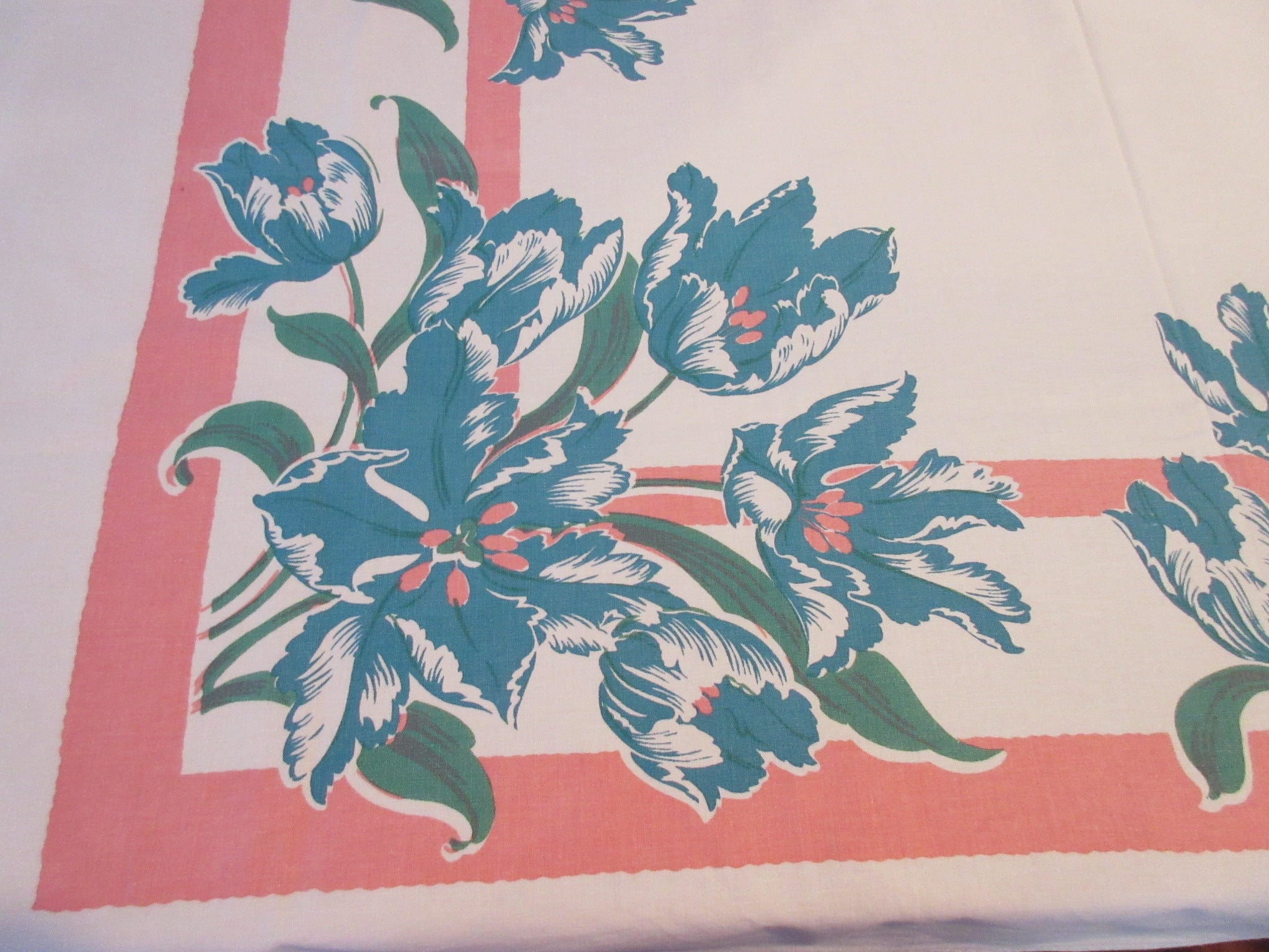 Teal Tulips on Pink Floral Vintage Printed Tablecloth (51 X 47)
