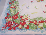 Victory Garden Veggies on Blue Lace Linen Vegetables Vintage Printed Tablecloth (52 X 50)