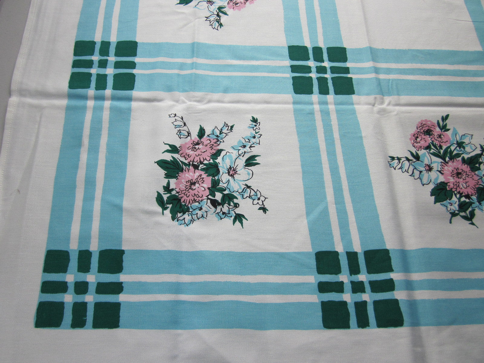 Pink Blue Springy Floral MWT Vintage Printed Tablecloth (67 X 51)