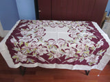 Pink Magnolias on Magenta Linen Floral Vintage Printed Tablecloth (51 X 50)