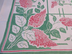 Red Green Lilacs Early Two Color Linen Floral Vintage Printed Tablecloth (52 X 48)