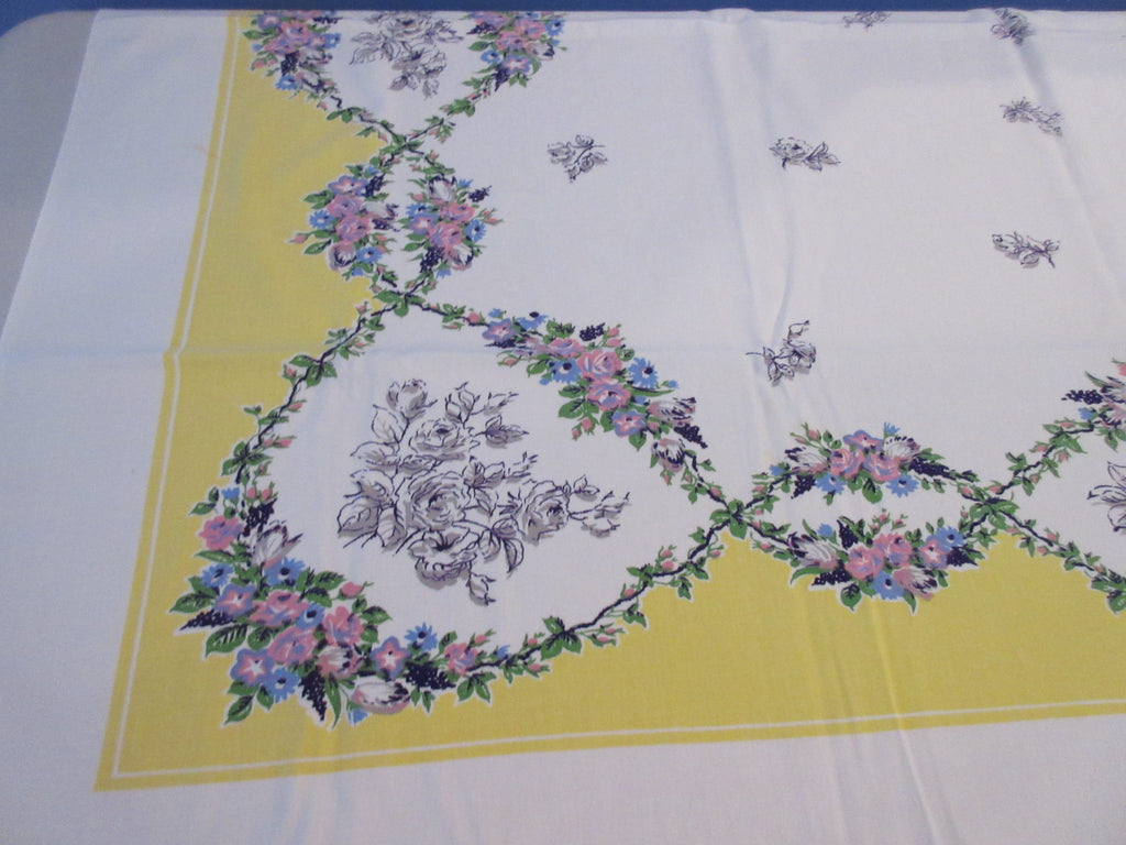 Gray Purple Flowers on Yellow Floral Vintage Printed Tablecloth (53 X 45)