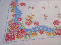 Smaller Pink Dahlias on French Blue Floral Vintage Printed Tablecloth (45 X 40)