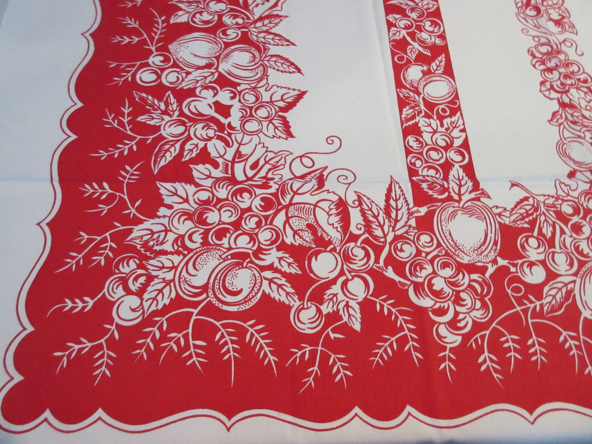 Red Reverse Printed Vegetable Fruit Stripes Vintage Printed Tablecloth (52 X 49)