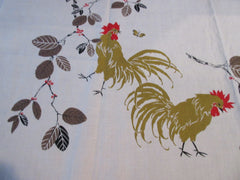 Fabulous Fall Roosters on Tan Linen Novelty Vintage Printed Tablecloth (51 X 50)