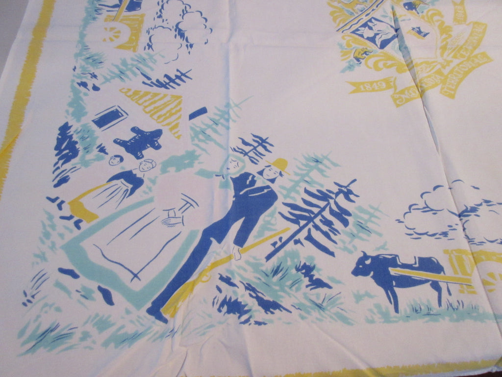 Rare but Shabby Minnesota Centennial Souvenir Novelty Vintage Printed Tablecloth (45 X 38)