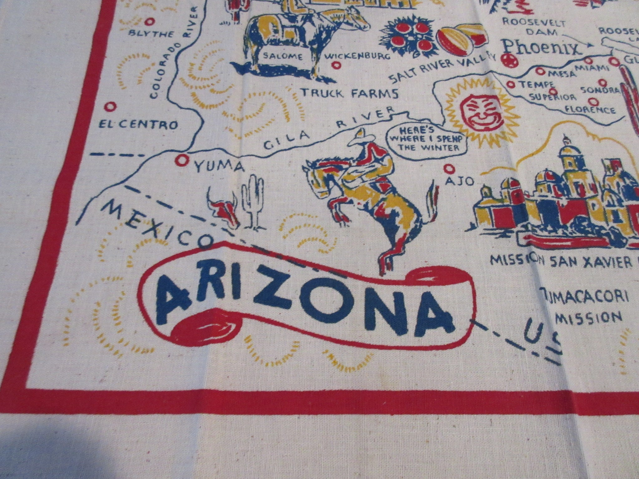 Arizona State Unwashed Cactus Cloth Souvenir Novelty Vintage Printed Tablecloth (40 X 38)