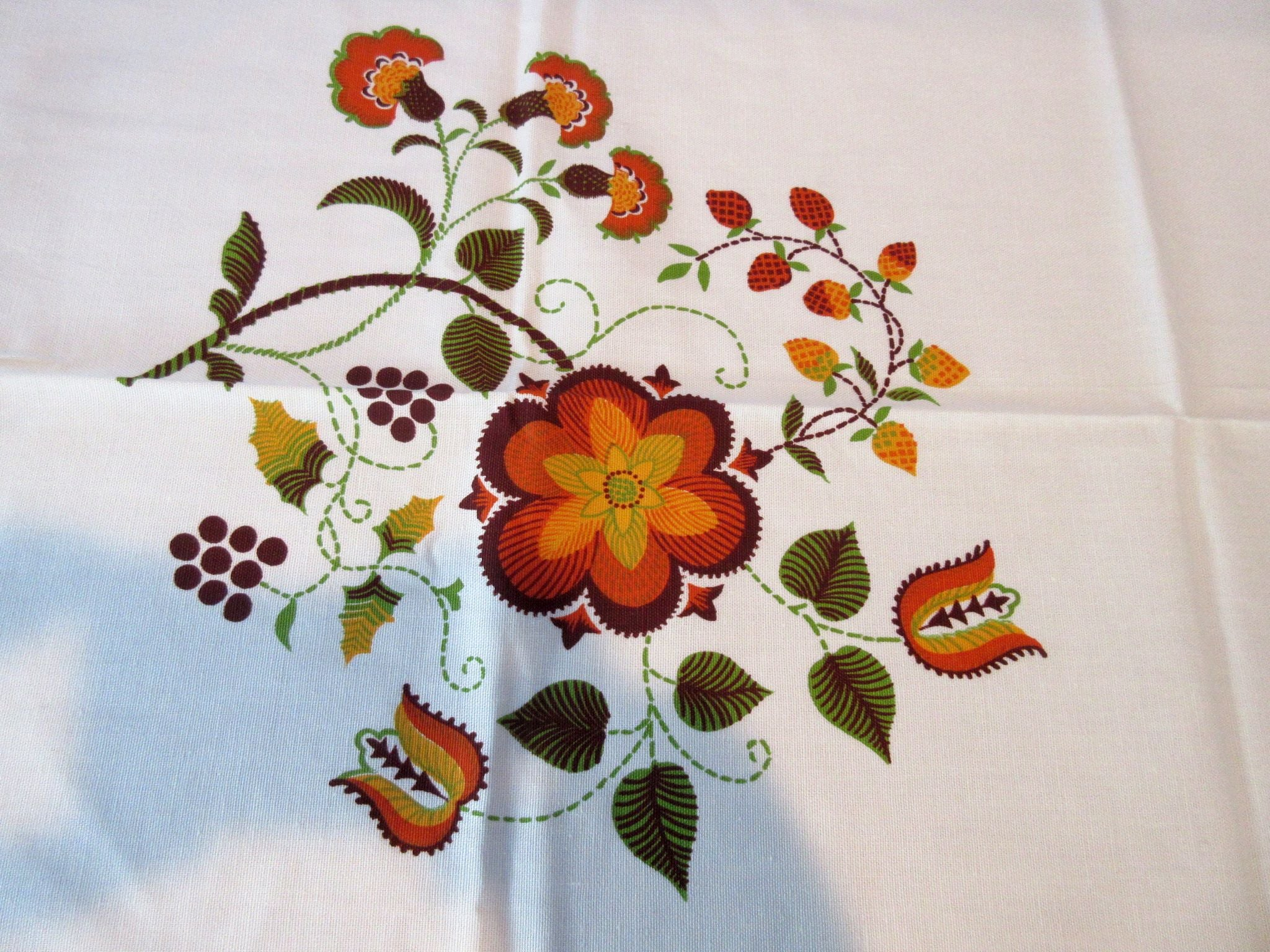 Fall Autumn Crewel PA Dutch MWT Floral Vintage Printed Tablecloth (68 X 50)