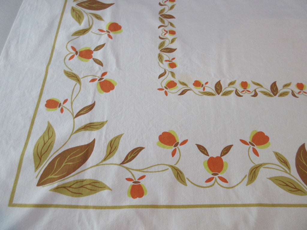 Fall Jewel Tea Autumn Leaf Startex Floral Vintage Printed Tablecloth (54 X 49)