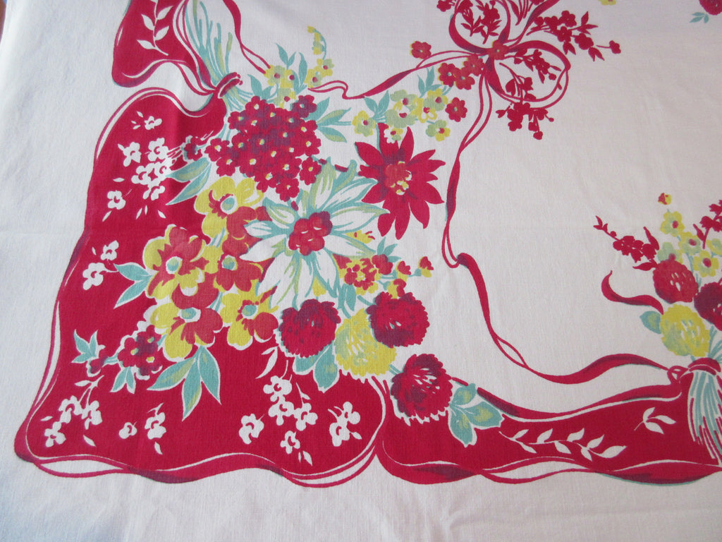 Larger Primary Ribbons on Red Floral Vintage Printed Tablecloth (70 X 57)