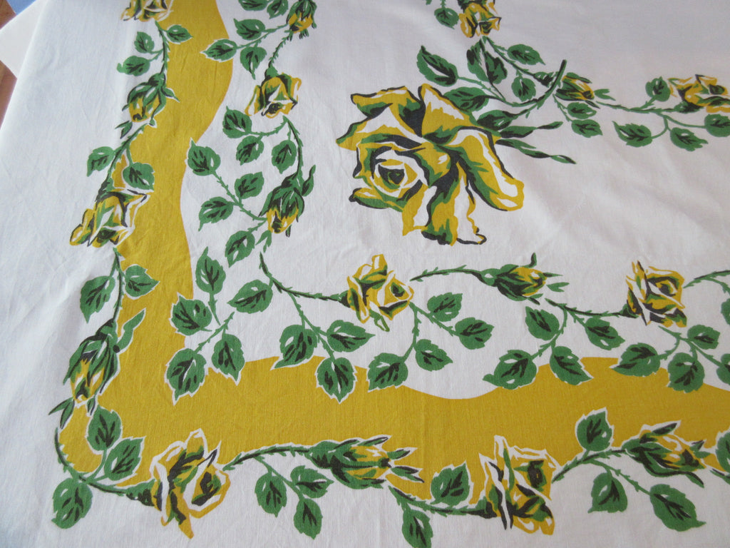 Large Yellow Green Roses  Floral Vintage Printed Tablecloth (73 X 58)