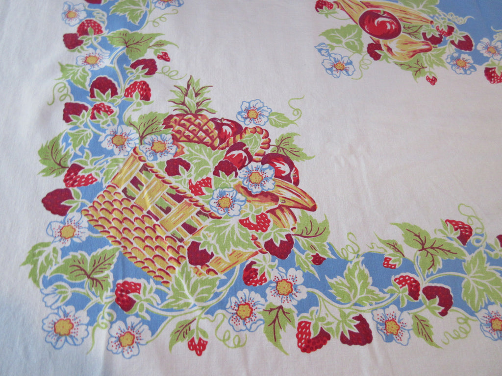Luscious Primary Fruit Baskets on Blue Vintage Printed Tablecloth (51 X 46)