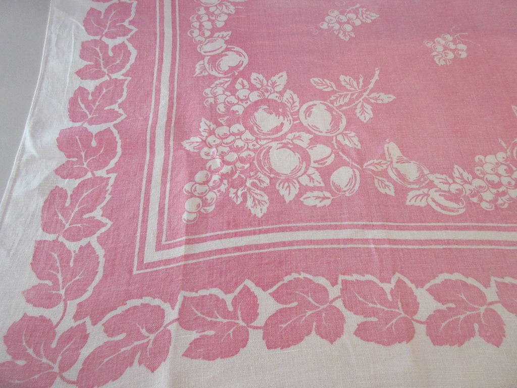 Reverse Printed Early Fruit on Pink Linen Vintage Printed Tablecloth (48 X 50)