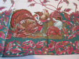 OVAL Thanksgiving Turkey Leacock NOS Novelty Vintage Printed Tablecloth (100 X 59)
