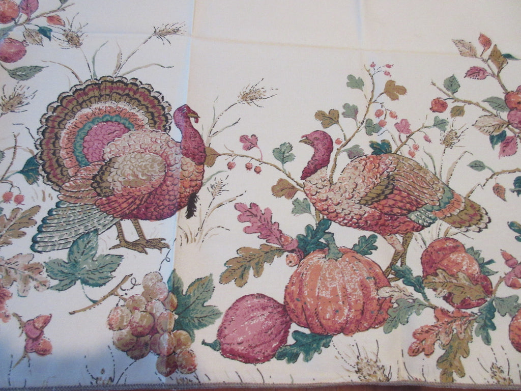 RECTANGULAR Thanksgiving Turkey on Tan NOS Novelty Vintage Printed Tablecloth (69 X 52)