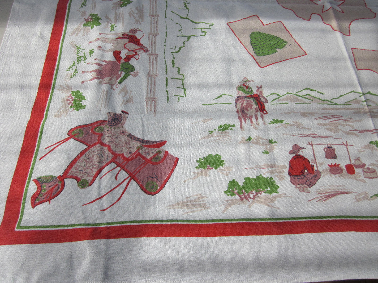 Startex Western States Novelty Vintage Printed Tablecloth (54 X 45)
